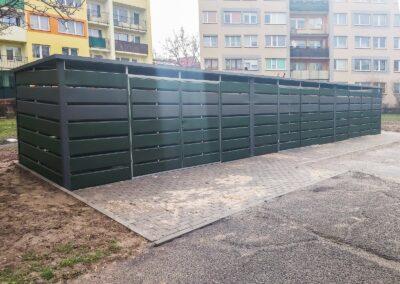 Wiata śmietnikowa 15x2,5m Matowa Zieleń + Matowy Grafit
