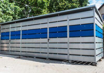 Wiata śmietnikowa schowek 7x2,5m Srebrny + Niebieski