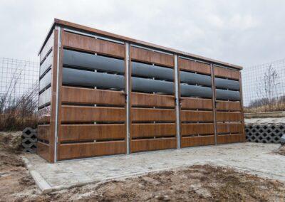 Wiata śmietnikowa panelowa 5x1,25m Antracyt + Złoty Dąb