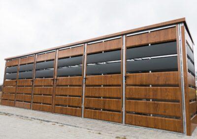 Wiata śmietnikowa panelowa 7,5x1,25m Antracyt + Złoty Dąb