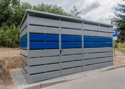 Wiata śmietnikowa 5x2,5m Niebieski + Srebrny v3