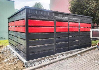 Wiata śmietnikowa 5x5 grafit + czerwony + maskownica