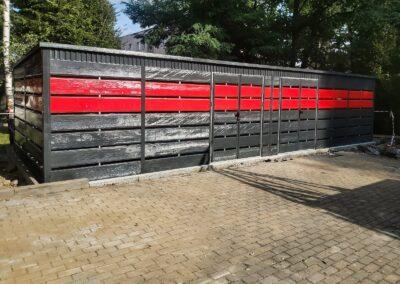 Wiata śmietnikowa 15,5x5m Grafit + Czerwień + Maskownica