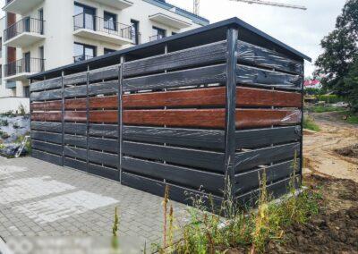 Wiata śmietnikowaa 6,5x1,5m Matowa Czerń + Orzech