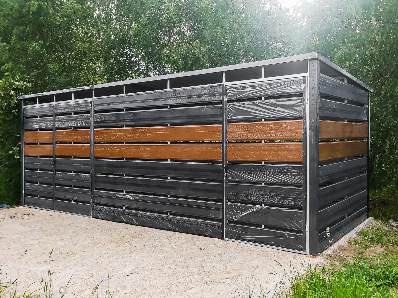Wiata śmietnikowa trashbox 6x2,5m Matowa Czerń + Złoty Dąb