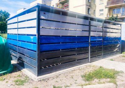Wiata na śmieci 6x5m Matowa Czerń + Niebieski + Srebrny