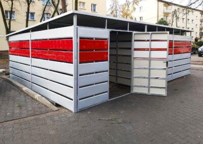 Wiata śmietnikowa 7x5m srebrny + czerwień