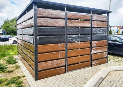 Altana wiata śmietnikowa 3,8x5m Złoty Dąb + Matowa Czerń