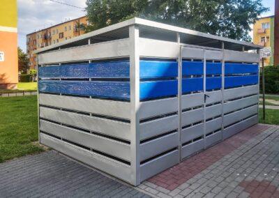 Wiata śmietnikowa schowek 4,5x5 srebrny + niebieski