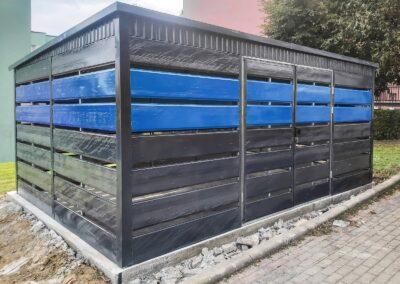 Wiata na śmieci 5x5m grafit + niebieski + maskownica